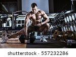 bodybuilder man  execute... | Shutterstock . vector #557232286