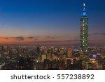 taiwan city skyline at sunset... | Shutterstock . vector #557238892