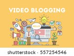 video blogging concept.idea of... | Shutterstock .eps vector #557254546
