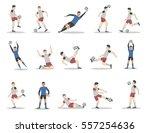 soccer players set on white... | Shutterstock .eps vector #557254636