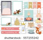 Stock vector cute note and sticker with rabbit fox whale crown and cake 557255242