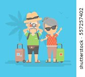 isolated retired couple on... | Shutterstock .eps vector #557257402