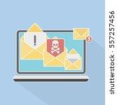 envelopes with skull on the... | Shutterstock .eps vector #557257456