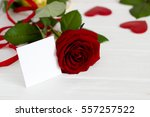Red Rose  Ribbon  Message Card...