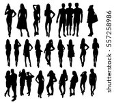 woman and man silhouettes | Shutterstock .eps vector #557258986