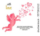 valentines day card design with ... | Shutterstock .eps vector #557281312
