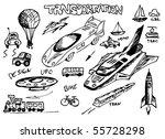 transportation icons hand drawn - stock vector