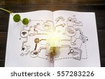 book and light bulb with hand... | Shutterstock . vector #557283226