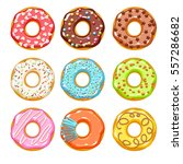 colorful glazed donuts icons... | Shutterstock .eps vector #557286682