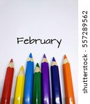 Small photo of Months concept using pencil color and month of February text
