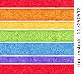 rainbow sponge cake with white... | Shutterstock .eps vector #557290912