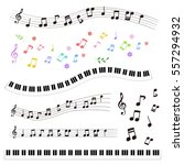 Set Of Music Notes And Piano...