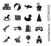 different kids toys icons set.... | Shutterstock .eps vector #557295202