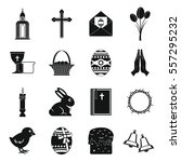 easter items icons set. simple... | Shutterstock .eps vector #557295232