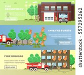 vector set of fire department ... | Shutterstock .eps vector #557295262