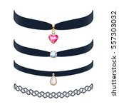 beautiful choker necklaces set... | Shutterstock .eps vector #557303032
