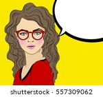 pop art woman with red glasses... | Shutterstock .eps vector #557309062