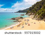 beaches in lloret de mar in a... | Shutterstock . vector #557315032