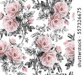 Stock photo seamless pattern with pink flowers and leaves on white background watercolor floral pattern 557326675