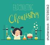 girl working in the chemistry... | Shutterstock .eps vector #557330362