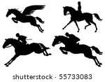 Pegasus And Horses Silhouette...