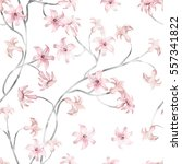 seamless pattern with pink... | Shutterstock . vector #557341822