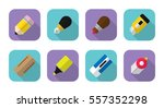 stationery flat icon set ... | Shutterstock .eps vector #557352298