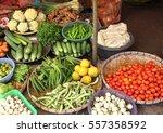 fresh vegetables in wicker... | Shutterstock . vector #557358592