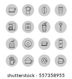 coffee flat icon set  vector... | Shutterstock .eps vector #557358955