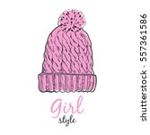 cute girl hat. vector... | Shutterstock .eps vector #557361586