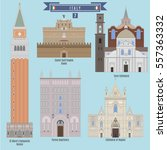 famous places in italy  st mark'... | Shutterstock .eps vector #557363332