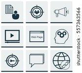 set of 9 marketing icons.... | Shutterstock .eps vector #557363566