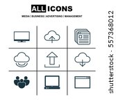 set of 9 web icons. includes pc ... | Shutterstock .eps vector #557368012