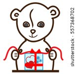 teddy bear is gift wraping.... | Shutterstock .eps vector #557368702