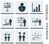 set of 9 executive icons.... | Shutterstock .eps vector #557369032