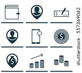 set of 9 hr icons. includes... | Shutterstock .eps vector #557369062