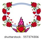 oval label with roses and cute...   Shutterstock .eps vector #557374306