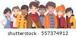 group of cartoon fashion... | Shutterstock .eps vector #557374912