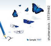 the pencil drawing blue... | Shutterstock .eps vector #55739482