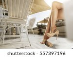 woman legs and summer time  | Shutterstock . vector #557397196