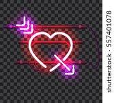glowing red neon heart pierced... | Shutterstock .eps vector #557401078