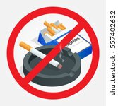 no smoking sign on white... | Shutterstock .eps vector #557402632