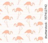 Exotic Pink Flamingos Seamless...
