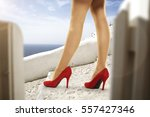 woman legs and heels  | Shutterstock . vector #557427346