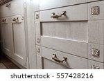 retro handles metal cabinet in... | Shutterstock . vector #557428216