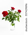 Three Red Roses In Glass Bottl...