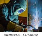 welder  craftsman  erecting... | Shutterstock . vector #557433892