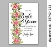 alstroemeria wedding invitation ... | Shutterstock .eps vector #557434138