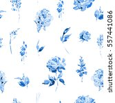 blue watercolor floral seamless ... | Shutterstock . vector #557441086