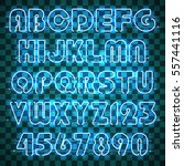 glowing blue neon alphabet with ... | Shutterstock .eps vector #557441116